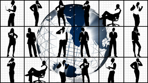 Animation of silhouettes showing business concept Animation