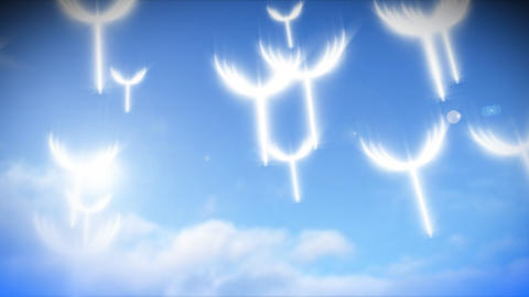 Animation of dandelion greens flying Stock Video Footage