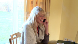 Blond woman on phone using a laptop Footage