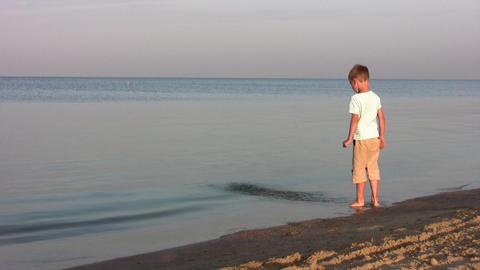 boy on beach Stock Video Footage