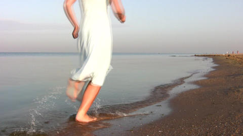 running woman on beach Footage