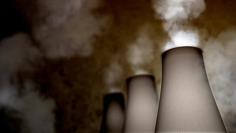 Smoking Industrial Chimneys HD Loop Animation