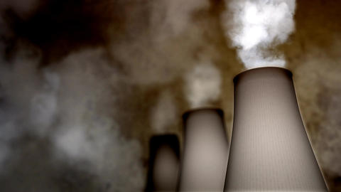 Smoking Industrial Chimneys HD Loop Stock Video Footage