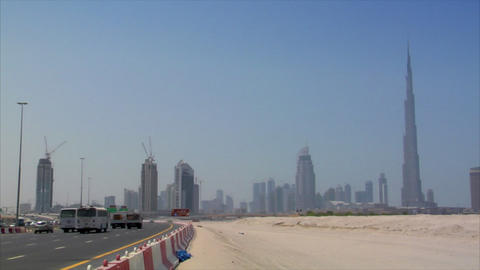 highway traffic at dubai skyline burj Footage