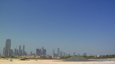 wideangle pan dubai skyline burj traffic Stock Video Footage