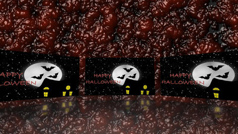 Halloween haunted house with bats on blood - Trick or Treat Stock Video Footage