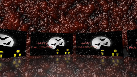Halloween haunted house with bats on blood - Trick or Treat Animation