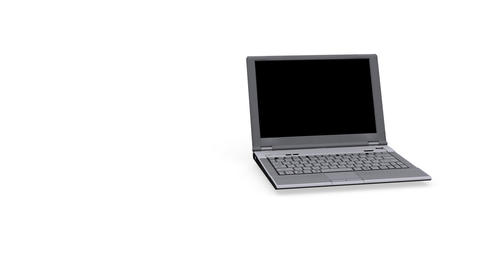 Laptop spinning and opening - closing - White Background... Stock Video Footage