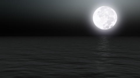 Full moon over calm sea at night - Nature - Night -... Stock Video Footage