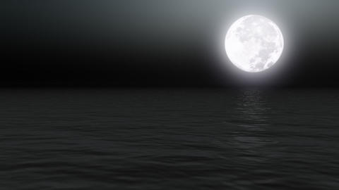 Full moon over calm sea at night - Nature - Night - Backgrounds Animation