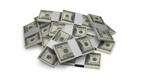 Dollar bill money bundles rotating on white background -... Stock Video Footage