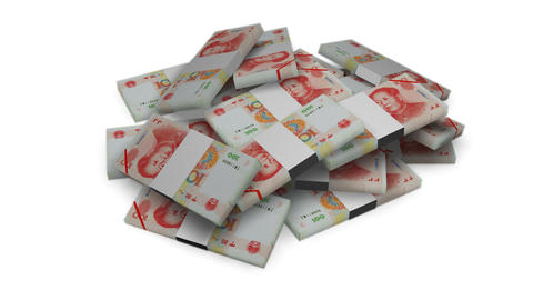 Yuan money bundles rotating on white background - Banknote - Finance - Wealth Animation