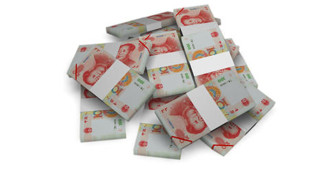 Yuan money bundles rotating on white background -... Stock Video Footage