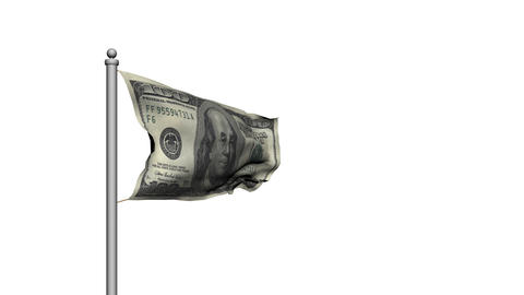 Dollar bill money flag on white background - Finance - Wealth Animation