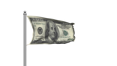 Dollar bill money flag on white background - Finance -... Stock Video Footage