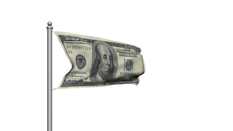 Dollar bill money flag on white background - Finance -... Stock Video Footage