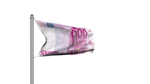 Euro banknote money flag on white background - Finance -... Stock Video Footage