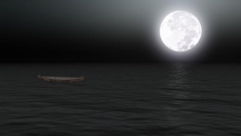 Boat on calm sea under moonlight - Backgrounds -... Stock Video Footage