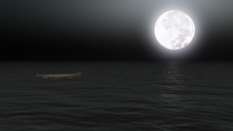Boat on calm sea under moonlight - Backgrounds - Transport - Vacations Animation