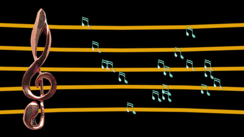 Treble clef and musical notes moving - High-tempo - Music Animation