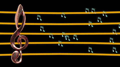 Treble clef and musical notes moving - High-tempo - Music Stock Video Footage