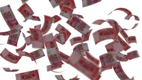 Yuan banknotes falling like rain - Wealth - Finance Stock Video Footage