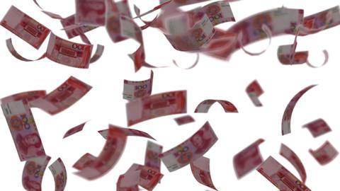 Yuan banknotes falling like rain - Wealth - Finance Stock Video Footage