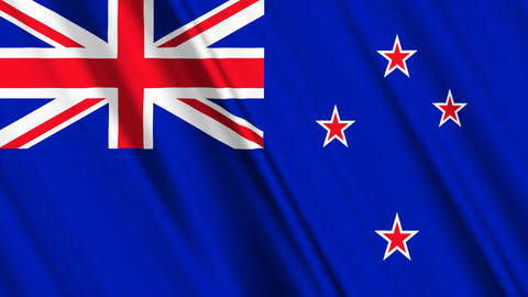 NewZealandFlagLoop01 Stock Video Footage