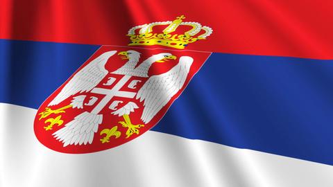SerbiaFlagLoop03 Stock Video Footage