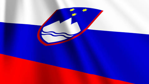 SloveniaFlagLoop03 Stock Video Footage