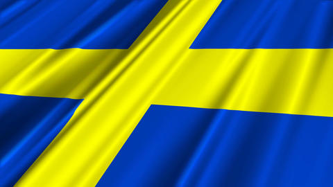 SwedenFlagLoop02 Stock Video Footage