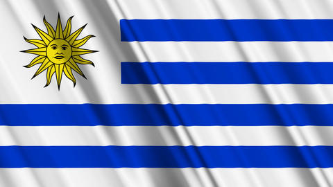UruguayFlagLoop01 Stock Video Footage