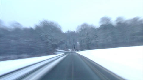 highspeed country roads in winter time lapse Stock Video Footage