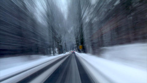 highspeed country roads in winter time lapse Footage
