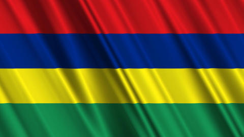MauritiusFlagLoop01 Stock Video Footage