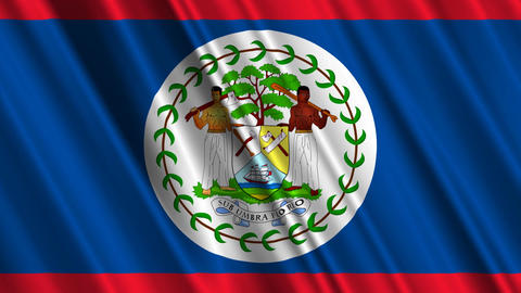 BelizeFlagLoop01 Stock Video Footage