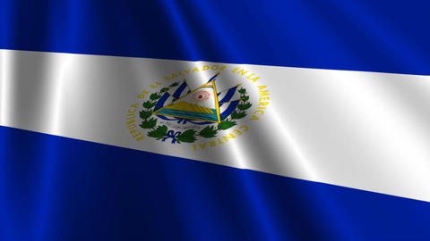 ElSalvadorFlagLoop03 Stock Video Footage