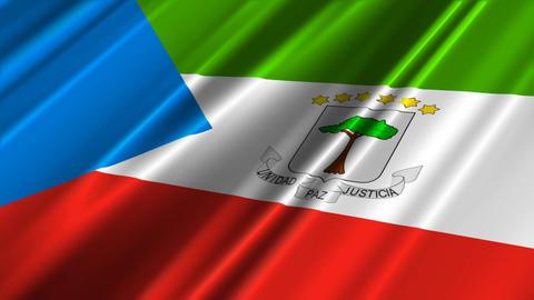 EquatorialGuineaFlagLoop02 Stock Video Footage
