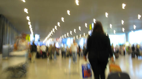 crowd in airport time lapse Stock Video Footage