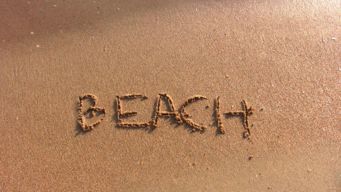 beach word on beach Stock Video Footage