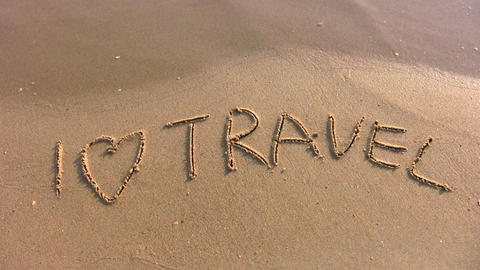 I love travel word on beach Stock Video Footage