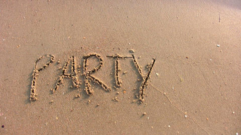 party word on beach Stock Video Footage