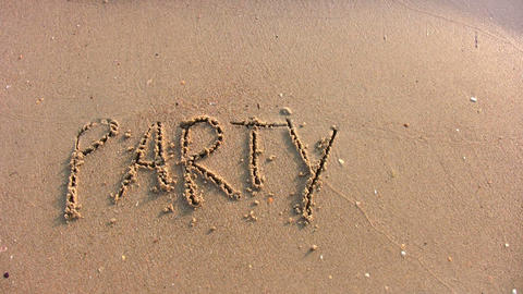 Party Word On Beach stock footage