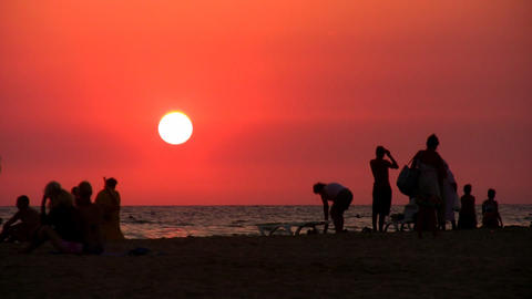 silhouette people on beach Stock Video Footage