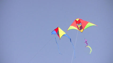 two kites on sky Stock Video Footage