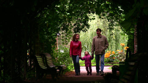 family silhouette in plant tunnel Footage