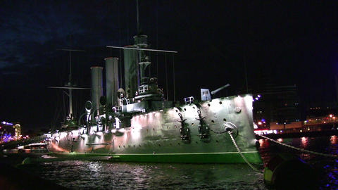 night ship Avrora on Neva Footage