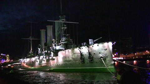 night ship Avrora on Neva Stock Video Footage