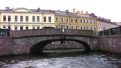 Canal with bridges in Petersburg Stock Video Footage
