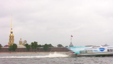 hydrowing ship in Petersburg Stock Video Footage